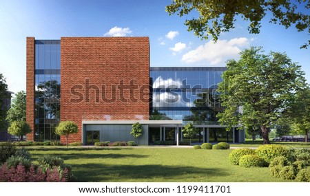 3D illustration modern office building; bank building with brick wall; 3d rendering; 300 dpi