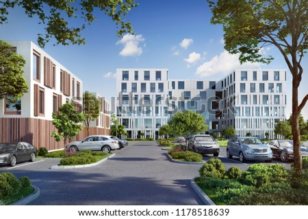 3D illustration modern office building center, sky reflecting with white wall and green environment; 3d rendering; 300 dpi