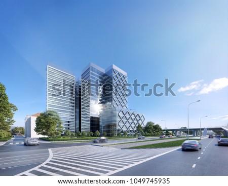 3D illustration modern office building, skyscraper 3d; 300 dpi
