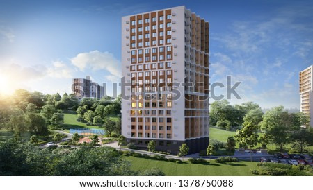 3D illustration modern residential complex for young families; high building; 300 dpi