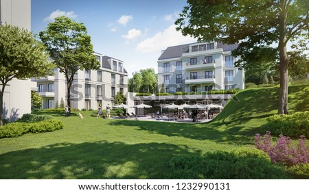3D illustration modern residential complex for young families in beautiful natural landscape; 3d rendering; 300 dpi