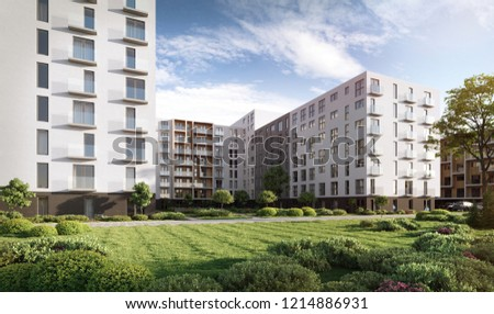 3D illustration modern residential complex for young families with office building; 3d rendering; 300 dpi