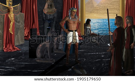 3D Illustration: Moses and Aaron confront Pharaoh 'Let My People Go!' Stock fotó ©