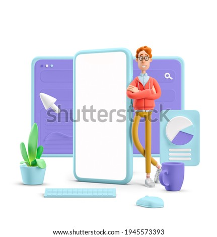 3d illustration. Nerd Larry with interface. Phone application concept. Stock foto ©