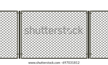 3d illustration. Net metal fence on a white background.