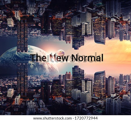 "3d illustration. New normal concept. graphic design  ""new normal"" text on skyline city graphic elements. coronavirus motivation After the epidemic the COVID-19 virus caused the new normal worldwide"