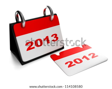 3d illustration: New Year. Changing the years 2012 to 2013 calendar isolation sheet