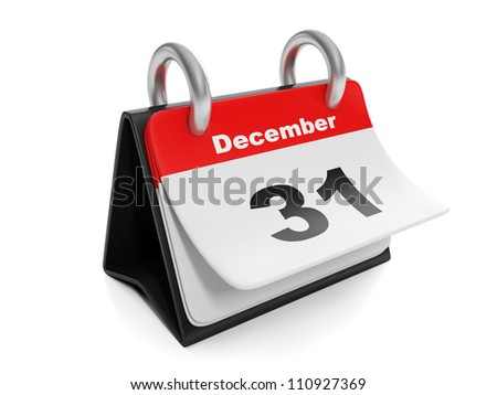 3d illustration: New Year items. Calendar turns the page on December 31