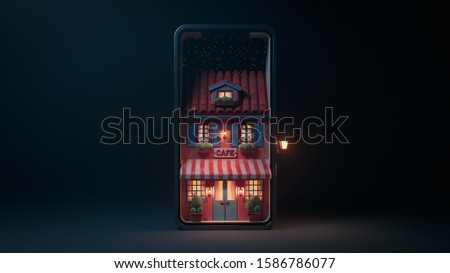 3d illustration night scene of cafe with striped awning, blue shutters and door on smartphone screen with stars. Concept art online cafe reservation. Yellow light from the windows late in the evening.