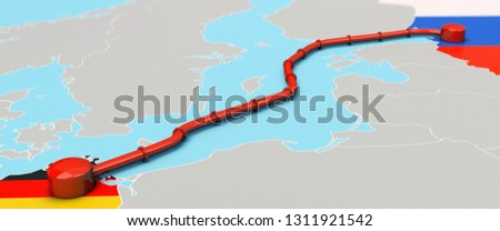 3D-illustration, Nord Stream 2 Project between Russia and Germany Photo stock ©
