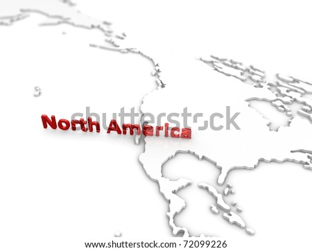 3d illustration, North America region map. on white.