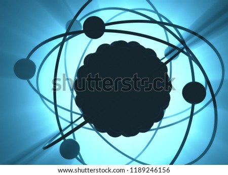 3D illustration. Nuclear power, nuclear reaction or nuclear energy, generating heat in a concept image of a nuclear atomic model.