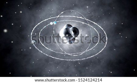 3D Illustration of a Atom with electrons and protons moving in the microcosmos.
