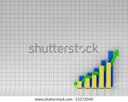 3D illustration of a bar chart showing positive results