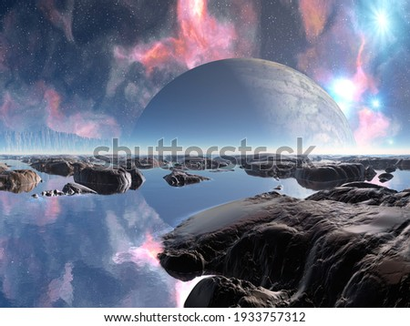 3D illustration of a beautiful and inspirational science fiction landscape with a moon, mountains, and water Foto stock ©