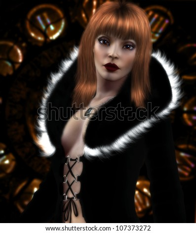 3D illustration of a beautiful female with red hair wearing a black and white fur jacket. The background has clock like features that glow with different colors.