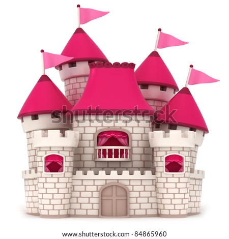 3D Illustration of a Beautiful Pink Castle