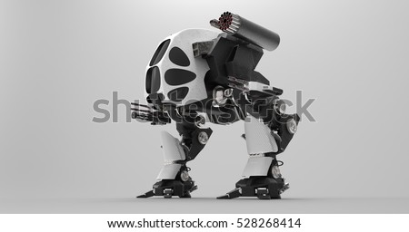 Stock Photo 3D Illustration Of A Black And White Futuristic Armored Mech Vehicle With An Array Of Guns On A Light Masked Transparent Background
