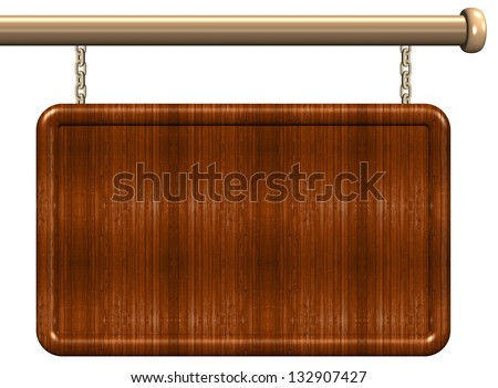3d illustration of a blank wooden sign / Wooden sign