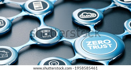 3D illustration of a blue network with icons and the text zero trust written on the front. Black background. Concept of secured network.
