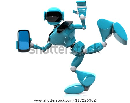 3d illustration of a blue robot and phone on white background