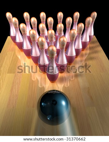 3d illustration of a bowling ball striking 'female workers' pins (firing metaphor)