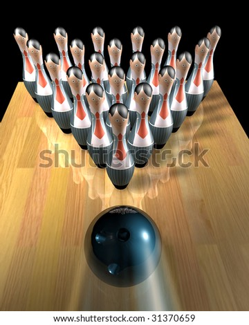 3d illustration of a bowling ball striking 'workers' pins (firing metaphor)