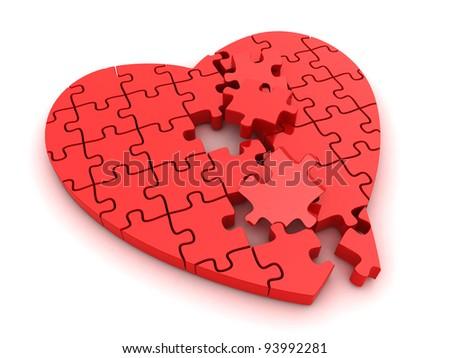 3D Illustration of a Broken Jigsaw Puzzle