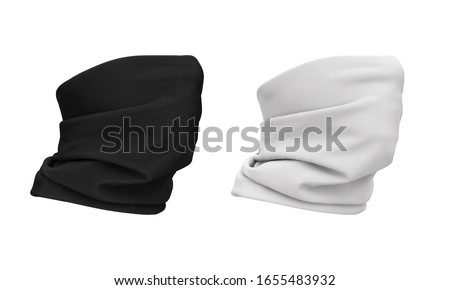 3d illustration of a buff wearing a face. Bandana, scarf, buff, neckscarf. 3d template in white and black color. Mockup for design, logo, branding. Option to wear a buff.