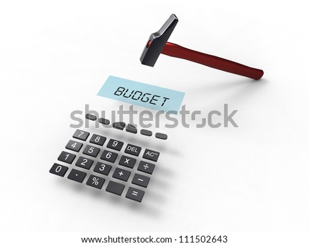 3d illustration of a calculator with the word budget and a hammer