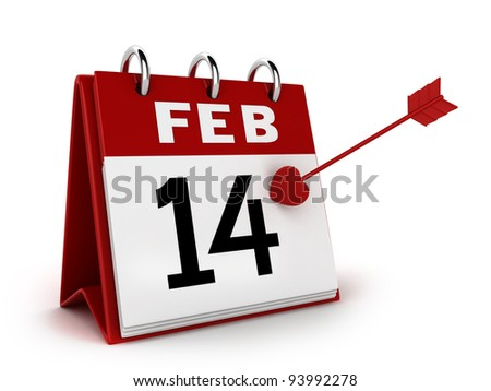 3D Illustration of a Calendar with the 14th of February Marked