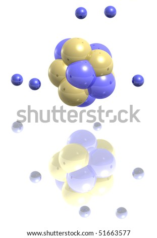 3D Carbon Atom http://www.shutterstock.com/pic-51663577/stock-photo--d-illustration-of-a-carbon-atom-with-a-reflection-on-white.html