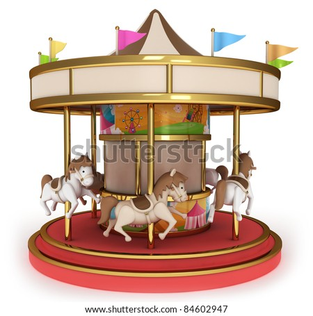 3D Illustration of a Carousel