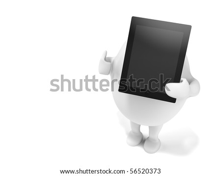 3D illustration of a cartoon egghead character holding a tablet computer and showing thumbs up. Isolated on white background.