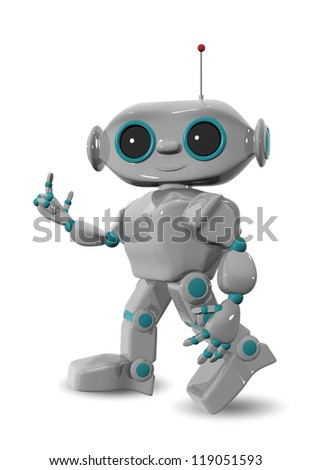 3d illustration of a cheerful robot with antennas