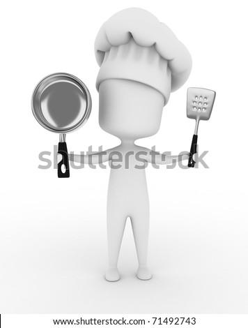 3D Illustration of a Chef Holding Kitchen Utensils