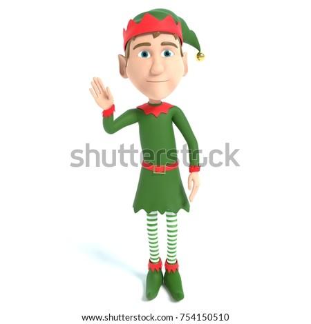 3d illustration of a Christmas Elf waving