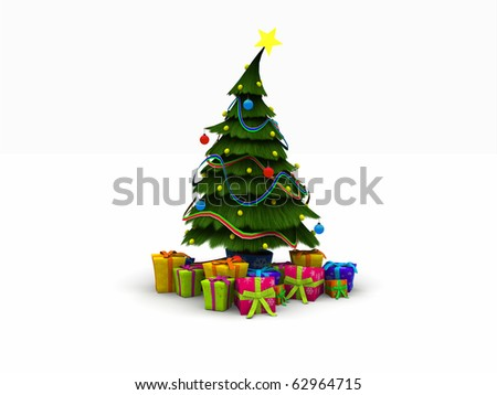 3d illustration of a Christmas tree and presents