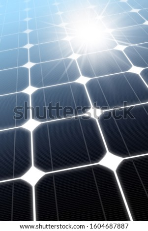 3D illustration of a close-up of a Solar Panel (photovoltaic panel) with the reflection of the sun rays, full frame