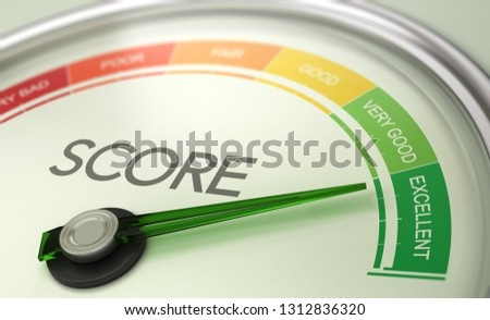 3D illustration of a conceptual gauge with needle pointing to excellent. Business credit score concept. Foto stock ©