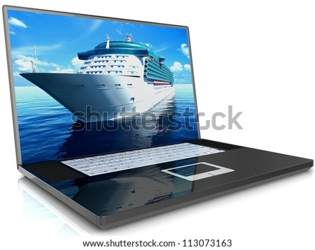 3D illustration of a Cruise Ship on laptop monitor