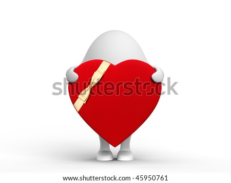 3D illustration of a cute 3D character holding a red valentine. Isolated on white background.