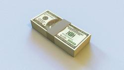 3D illustration of a deck of money 100 dollars with beige stripe