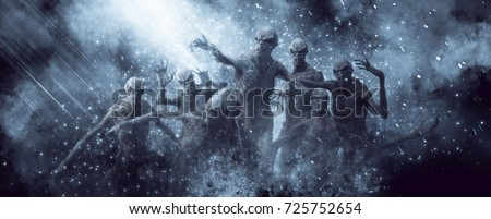 3D Illustration of a demons monsters in the rays of light