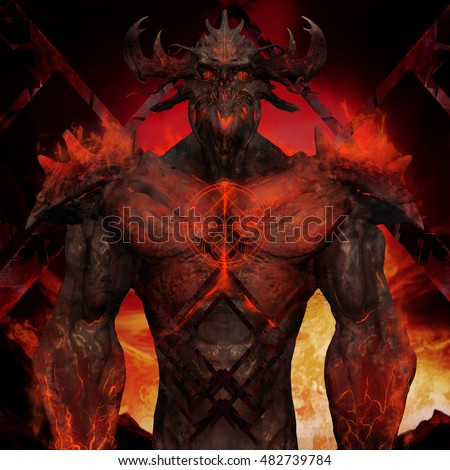 Stock Photo 3D illustration of a devil torso art. Artwork of a muscle built hell monster with horns, fire elements, armor and spikes on flame inferno background.