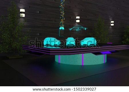 3D illustration of a diorama table prototyping autonomous shipping, self-driving cars and a delivery drone using 5G network