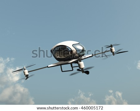 3D illustration of a drone to transport people