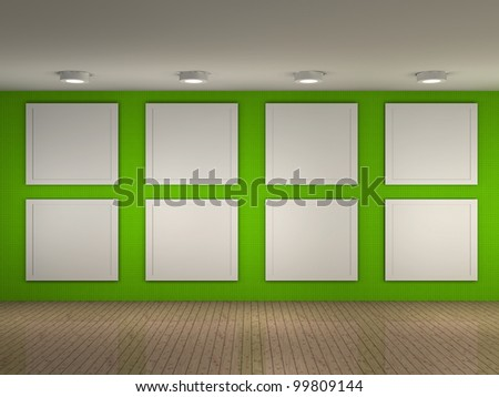 3d illustration of a empty museum with 8 frames