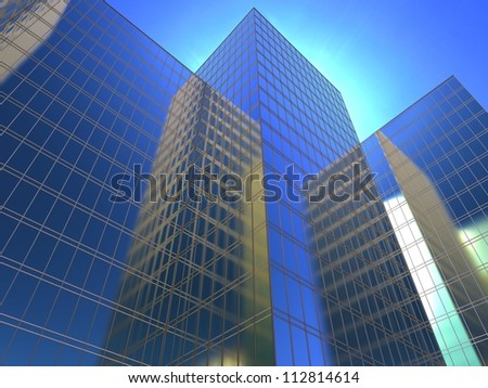 3d illustration of a facade of office to sue reflecting a blue sky - stock photo