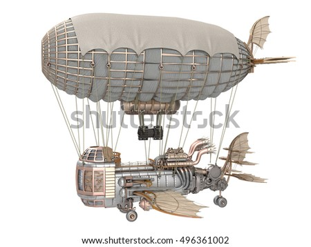 3d illustration of a fantasy airship in steampunk style on isolated white background